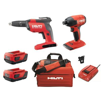 22-Volt Lithium-Ion Cordless Impact Drill Driver/Drywall Screw Gun Combo Kit (2-Tool)