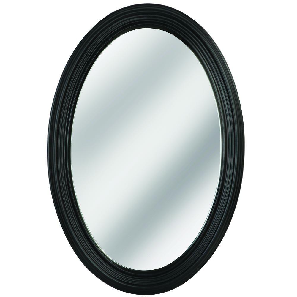 Erias Home Designs Napoli 31 in. L x 21 in. W Framed Oval Mirror in ...
