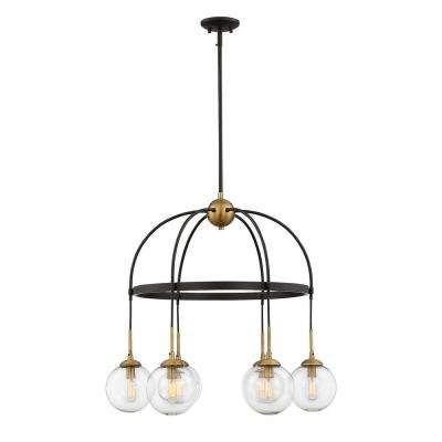 6-Watt English Bronze with Warm Brass Integrated LED Chandelier