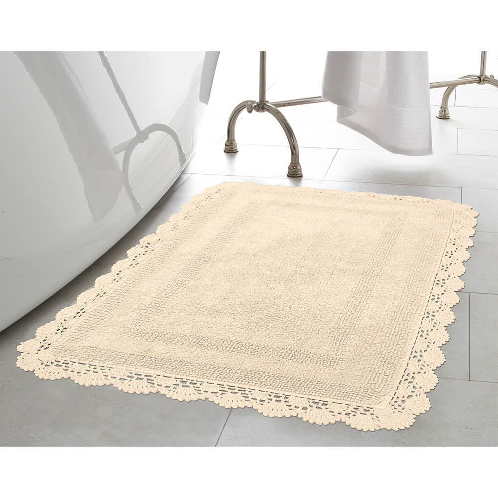 Crochet 100% Cotton 24 in. x 40 in. Bath Rug in Linen