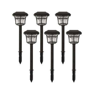 Solar Powered Dark Bronze Outdoor Integrated LED 3000K Warm White Landscape Path Light (6-Pack)