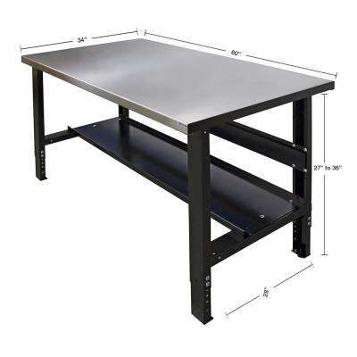 60 in. x 34 in. Heavy Duty Adjustable Height Workbench with Stainless Steel Top with Edge Guards and Bottom Shelf