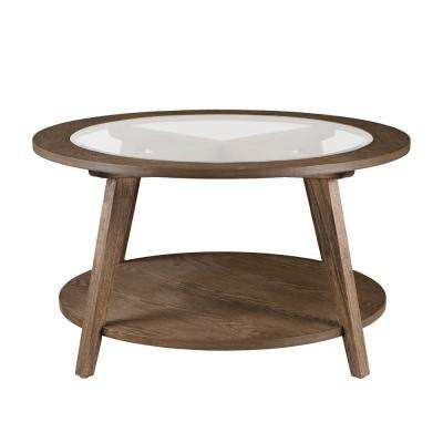 Richland Burnt Oak Round Glass Top Cocktail Table