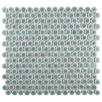 Hudson Penny Round Slate 12 in. x 12-5/8 in. x 5 mm Porcelain Mosaic Tile