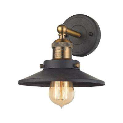 English Pub 1-Light Tarnished Graphite and Antique Brass Vanity Light
