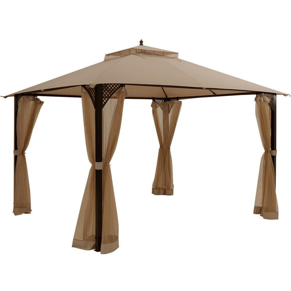 12 ft. x 10 ft. Brown Outdoor Patio Gazebo Slant Leg Pop-Up Canopy