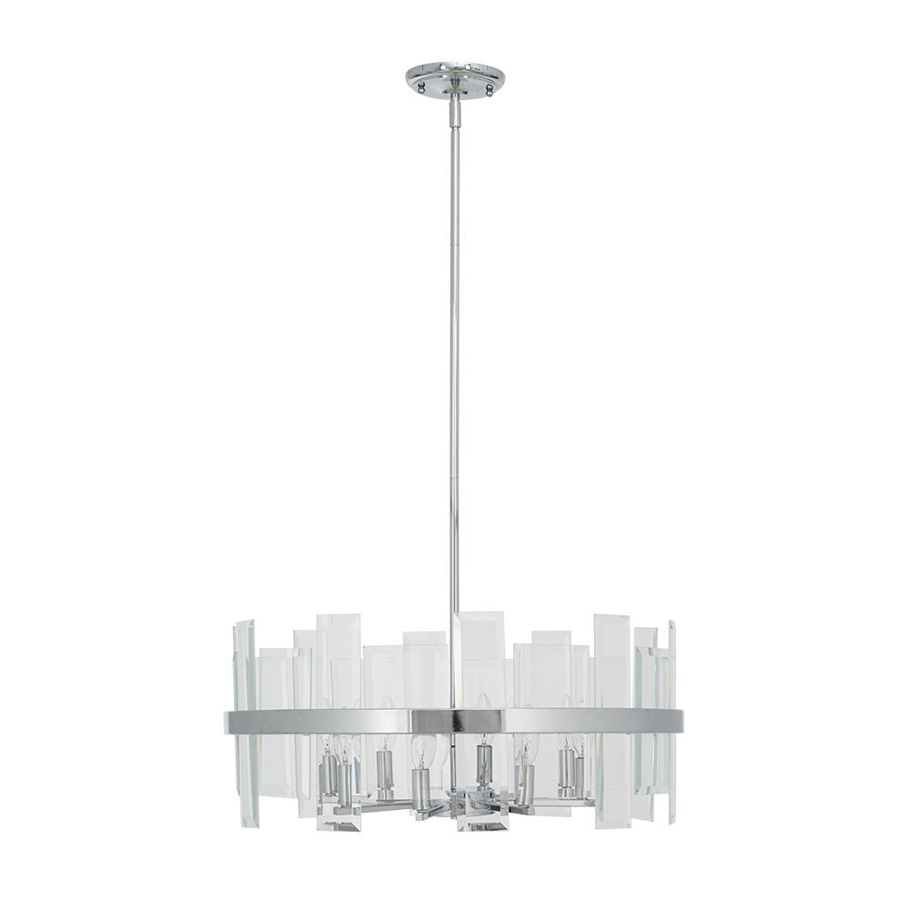 Alsy 8-Light Chrome Pendant with Clear Glass Shades