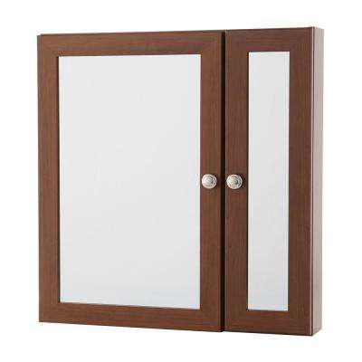 24 in. W x 24 in. H Fog Free Framed Surface-Mount Bi-View Bathroom Medicine Cabinet in Chestnut