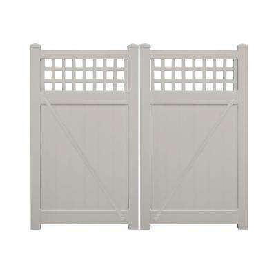 Scottsdale 7.4 ft. W x 6 ft. H Tan Vinyl Privacy Double Fence Gate