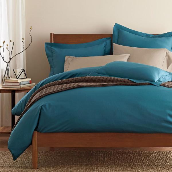 The Company Store Blue Jay Sateen Queen Duvet Cover DT95-Q-BLUE-JAY