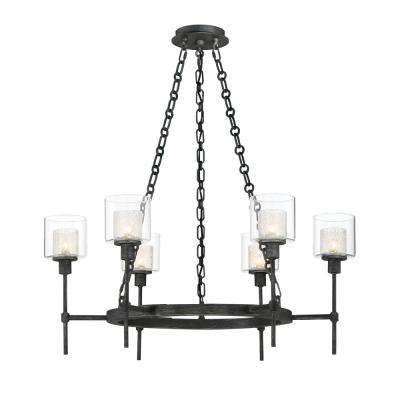 Cazadero 6-Light Weathered Pewter Chandelier with Clear Outer shade
