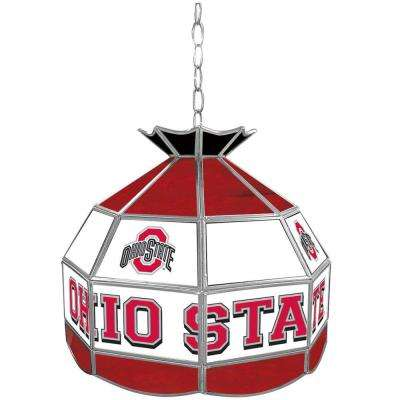 The Ohio State 16 in. Gold Hanging Tiffany Billiard Light
