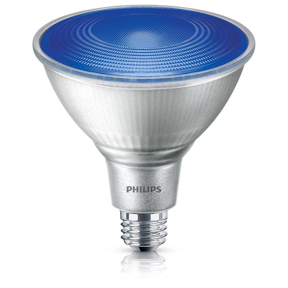 Outdoor Led Flood Lights Bulbs Philips 90 watt equivalent par 38 led flood blue 469072 the home depot philips 90 watt equivalent par 38 led flood blue workwithnaturefo