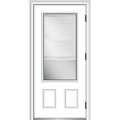 36 in. x 80 in. Internal Blinds Left Hand Outswing 3/4 Lite 2-Panel Clear Primed Steel Prehung Front Door w/ Brickmould