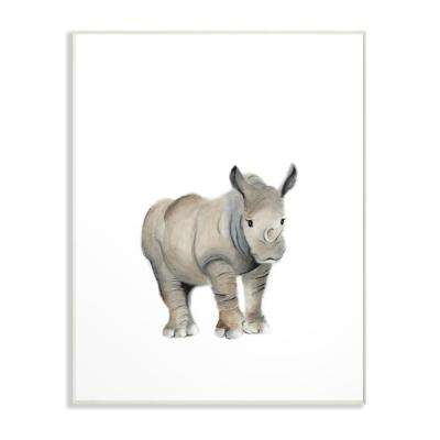 "13 in. x 19 in. ""Painted Rhino Single Animal"" by Studio Q Printed Wood Wall Art"