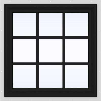 36 in. x 36 in. V-2500 Series Bronze FiniShield Vinyl Fixed Picture Window with Colonial Grids/Grilles
