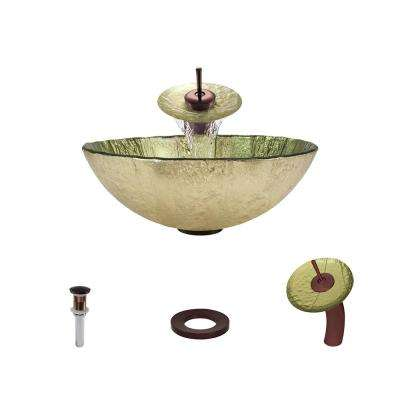 Glass Vessel Sink in Gold Foil with Waterfall Faucet and Pop-Up Drain in Oil Rubbed Bronze