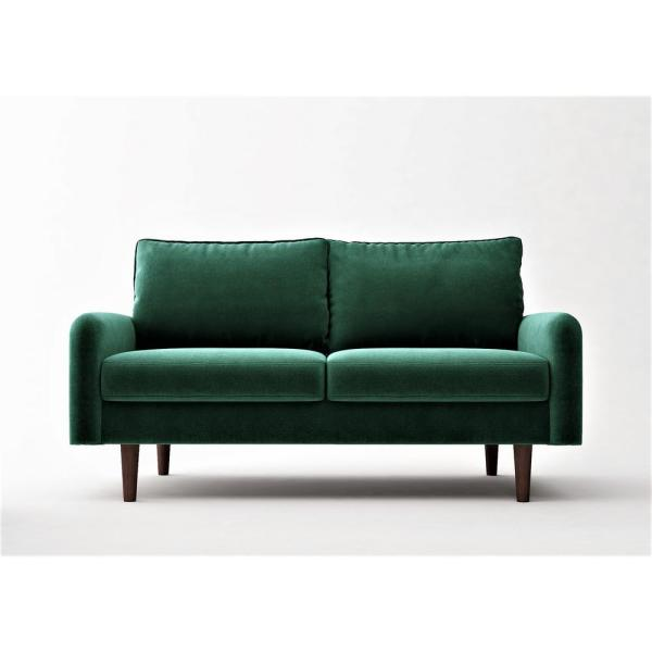 Vivo 57.8 in. Green Velvet 2-Seater Loveseat with Removable Cushions