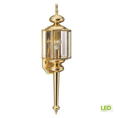 Classico 7 in. W 1-Light Polished Brass Outdoor Wall Mount Lantern with Clear Beveled Glass