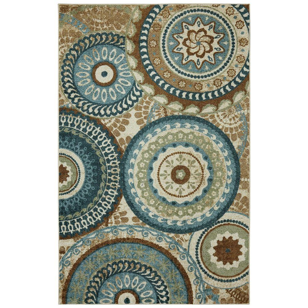 Mohawk Home Forest Suzani Aqua 5 Ft X 8 Indoor Area Rug