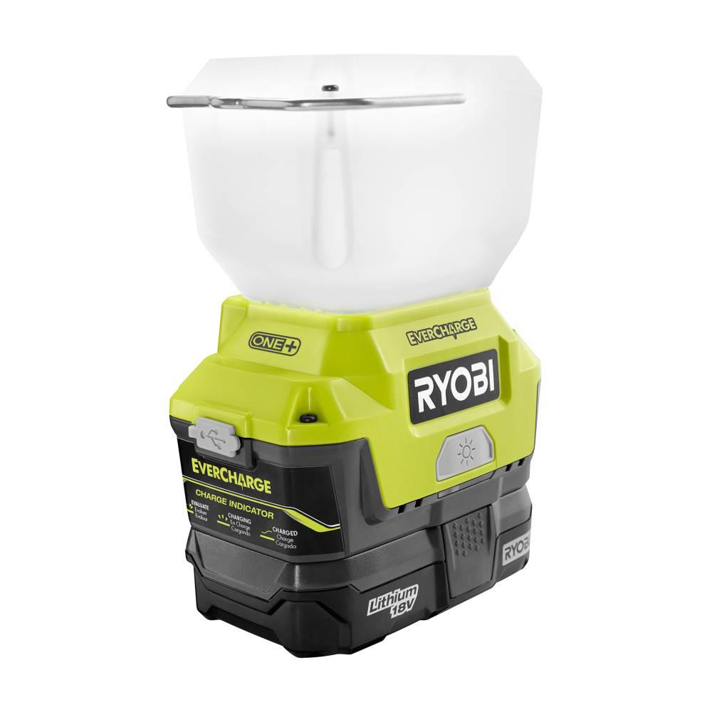 RYOBI RYOBI 18-Volt ONE+ Lithium-Ion Cordless EVERCHARGE LED Area Light with (1) 1.3 Ah Battery and (1) Wall Mount Adaptor Charger