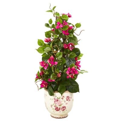 25 in. Bougainvillea Artificial Climbing Plant in Floral Vase