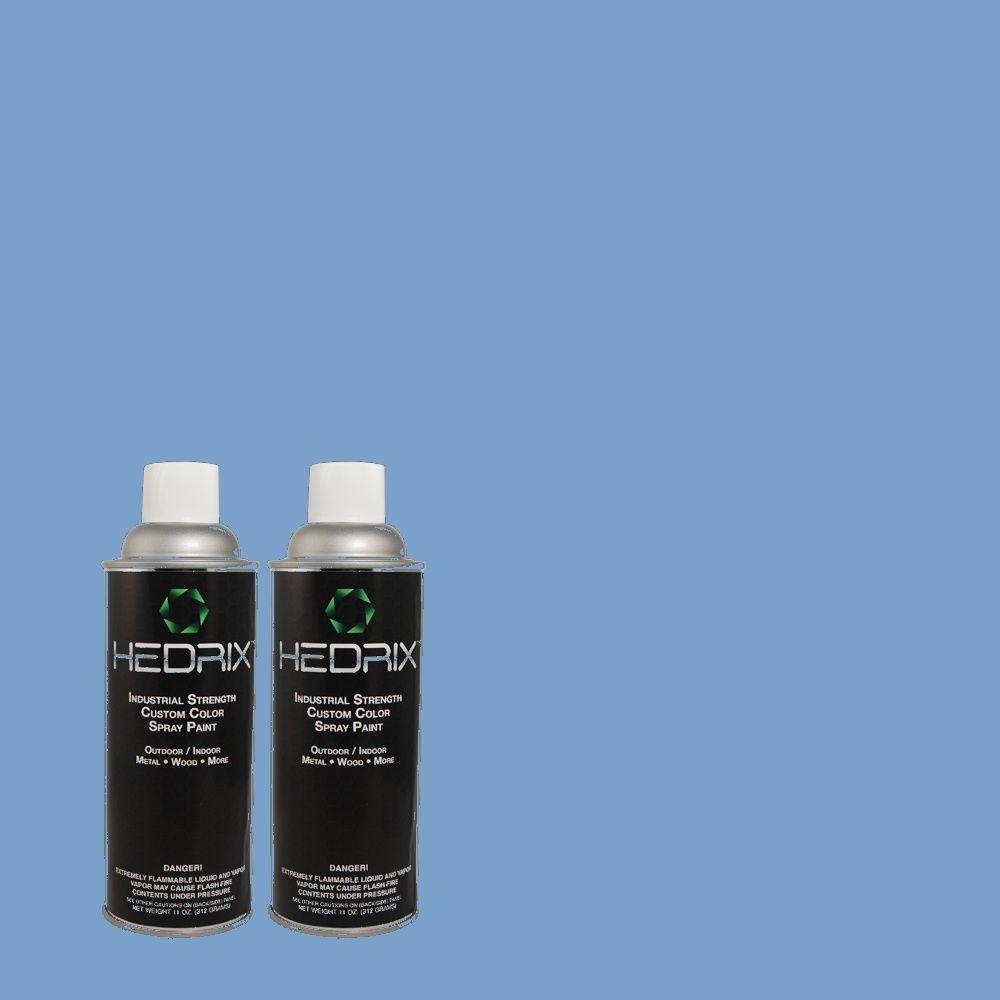 Hedrix 11 oz. Match of 570B-5 Gulf Stream Flat Custom Spray Paint (2-Pack)