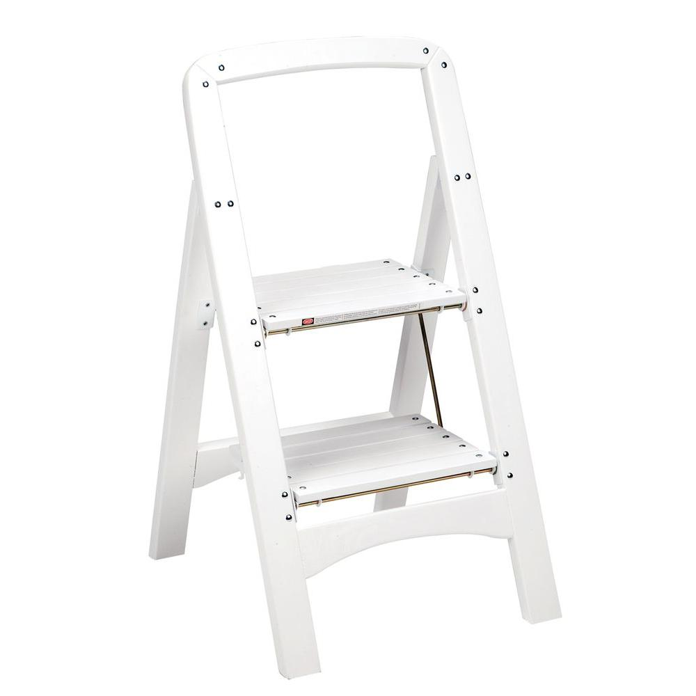 White Wood Step Stool Ladder 225 Lb