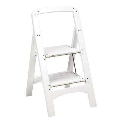 Rockford Series 2-Step White Wood Step Stool Ladder 225 lb. Load Capacity Type II Duty Rating