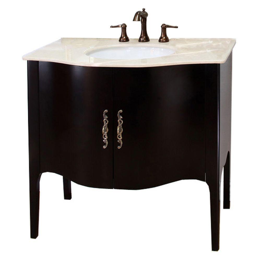 Pallazo II 36-6/10 in. W x 36 in. H Single Vanity in Espresso with Marble Vanity Top in Cream