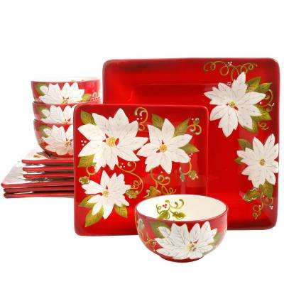 Pleasant Poinsettia 12-Piece Ceramic Dinnerware Set