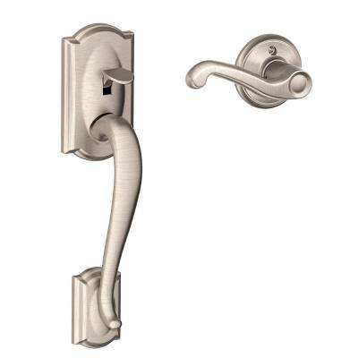 Camelot Satin Nickel Entry Door Handle with Right Handed Accent Lever
