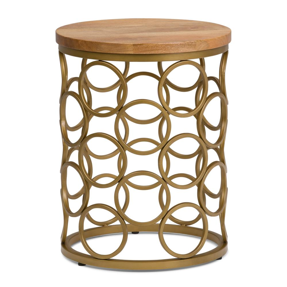 Wide Metal And Wood Accent Side Table In Natural Gold