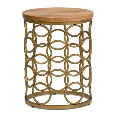 Sadie Round 17 in. Wide Metal and Wood Accent Accent Side Table in Natural, Gold