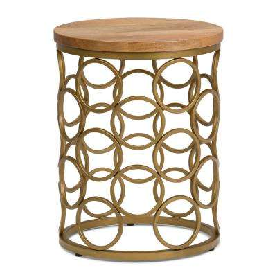 Sadie Natural and Gold Metal/Wood Accent Table