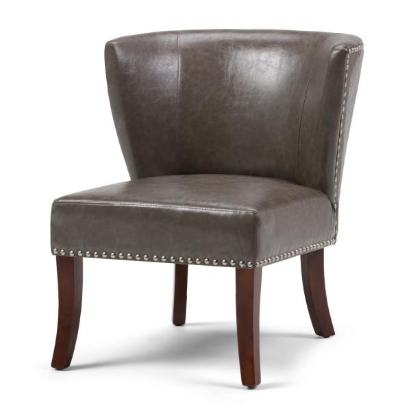 Simpli Home Jamestown Accent Chair in Elephant Grey Bonded Leather