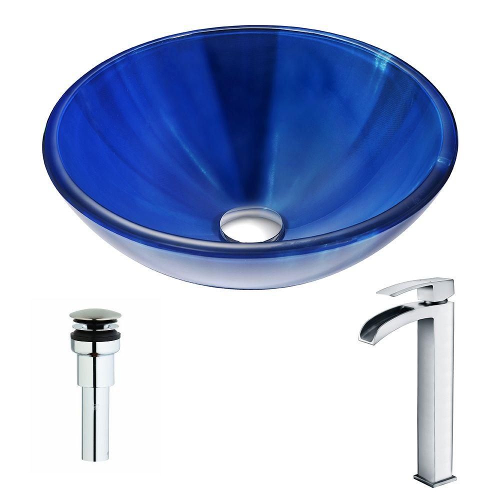 Meno Series Deco-Glass Vessel Sink in Lustrous Blue with Key Faucet