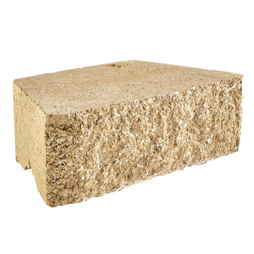 Pavestone RockWall Small 4 in. x 11.75 in. x 6.75 in. Buff Concrete ...