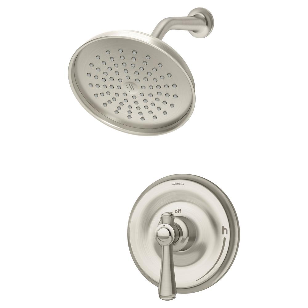 Symmons Degas 1 Handle Wall Mounted Shower Trim Kit In Satin Nickel Valve Not Included 5401 Stn 1 5 Trm The Home Depot