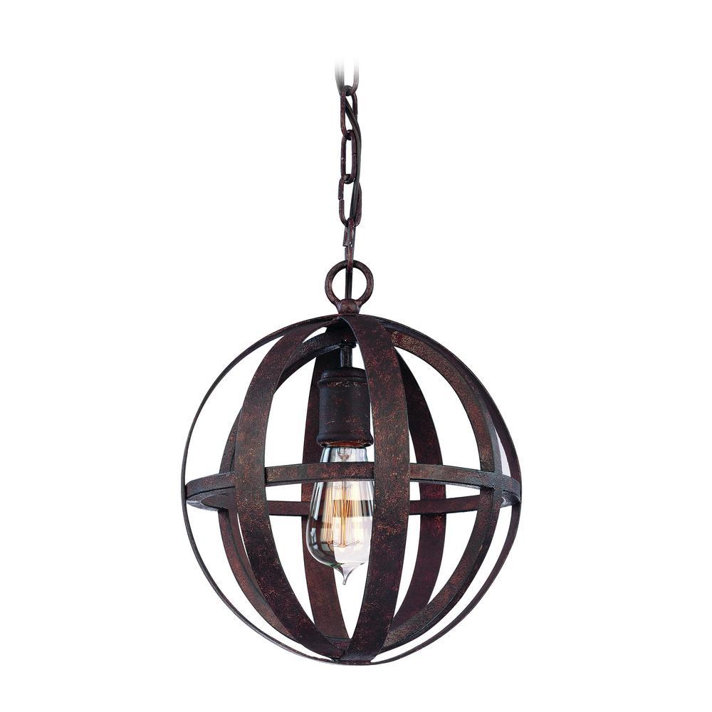 Flatiron 1-Light Weathered Iron Pendant