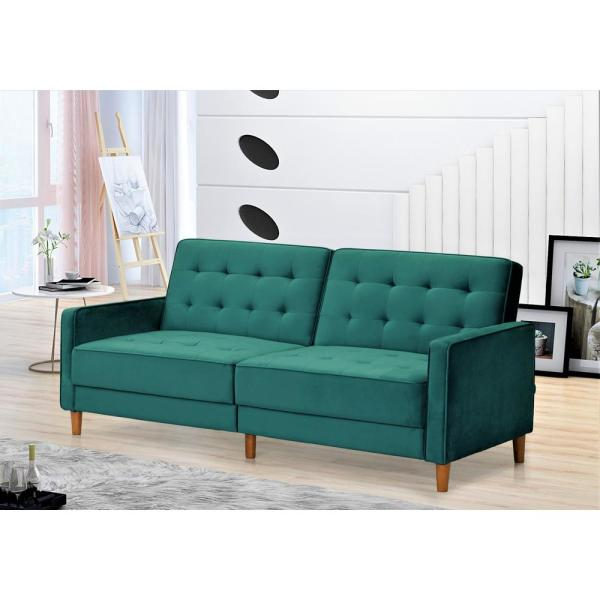 Us Pride Furniture Jonathan 80 In Green Tufted Velvet 2 Seater Twin Sleeper Sofa Bed With Square Arms Sb9077 The Home Depot