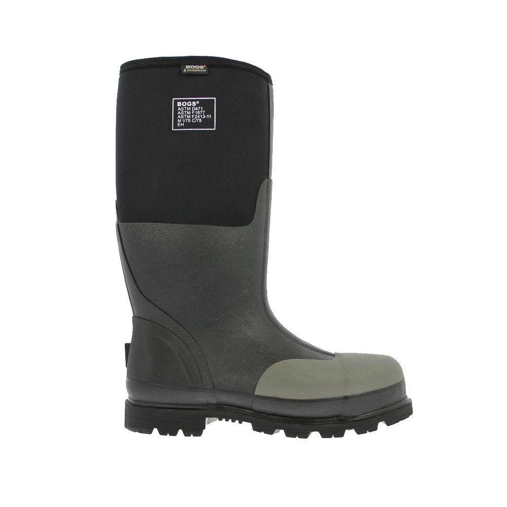 Forge Steel Toe Men 16 in. Size 11 Black Waterproof Rubber with Neoprene Boot