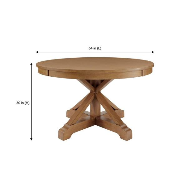 Home Decorators Collection Aberwood Patina Oak Finish Wood Round Dining Table For 4 54 In L X 30 In H Dp18019 R54 P The Home Depot