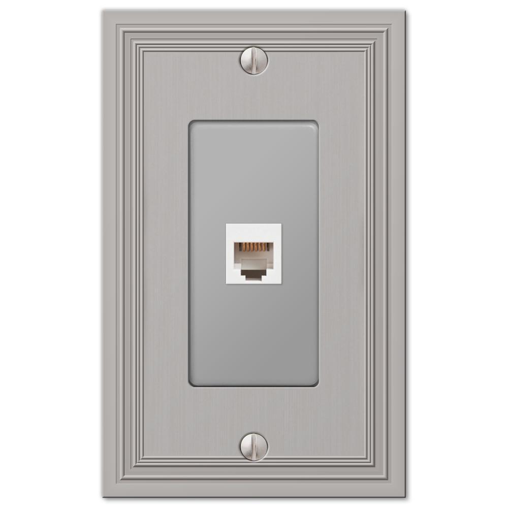 Hallcrest 1 Gang Phone Metal Wall Plate - Satin Nickel