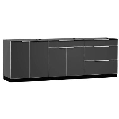 Slate Gray 3-Piece 96 in. W x 36.5 in. H x 24 in. D Outdoor Kitchen Cabinet Set without Counter Tops