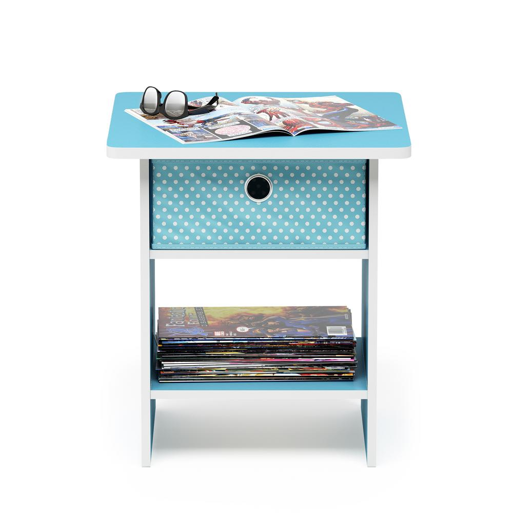 Home Living Light Blue/Light Blue End Table/Night Stand Storage Shelf with