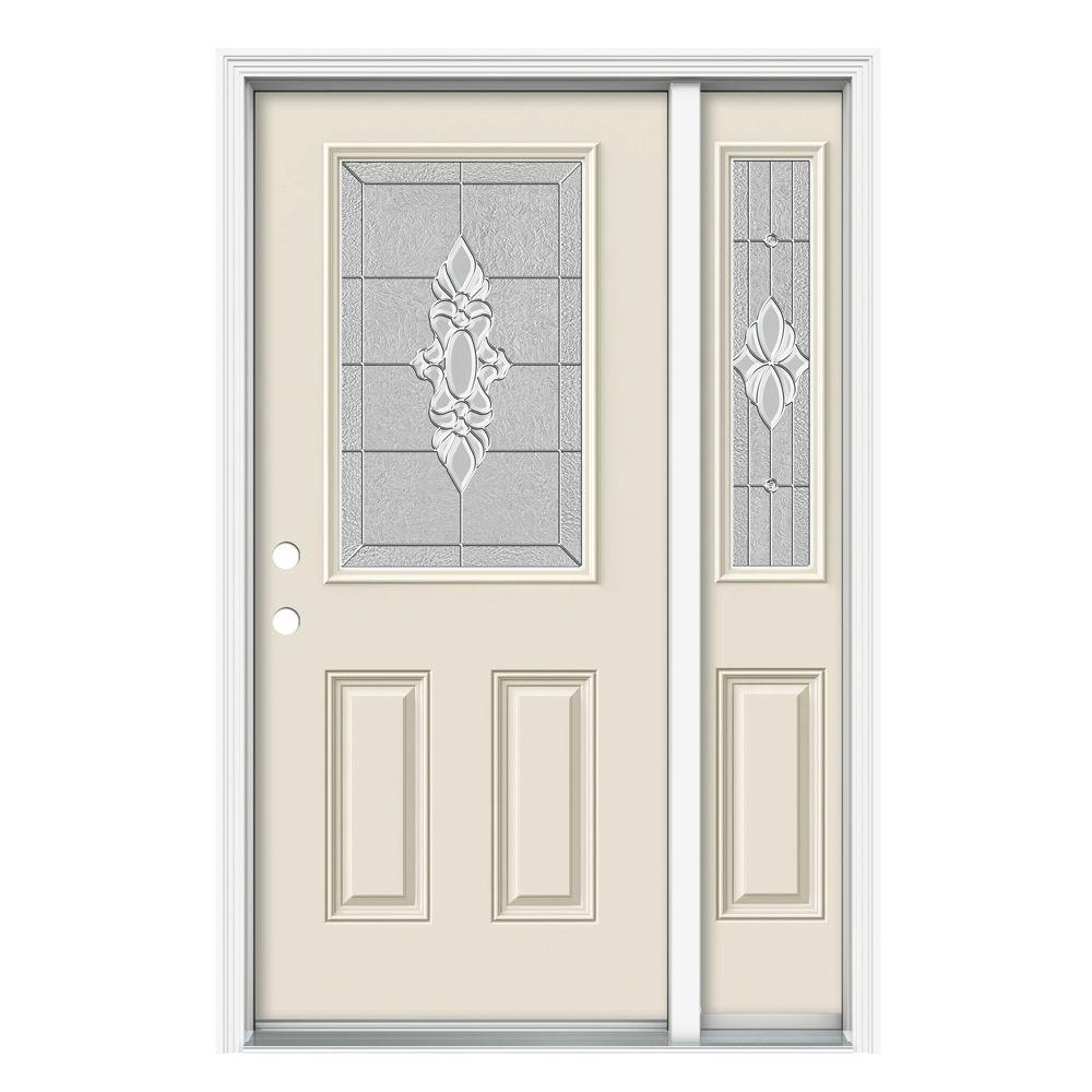 JELD-WEN 52 in. x 80 in. 1/2 Lite Langford Primed Steel Prehung Right-Hand Inswing Front Door with Right-Hand Sidelite