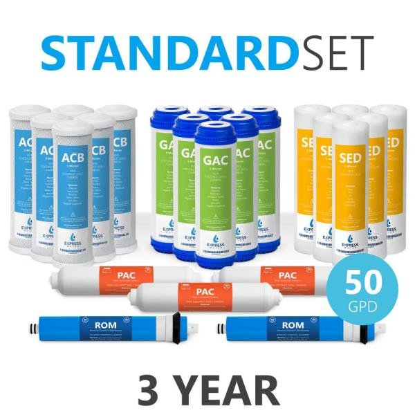 3 Year Reverse Osmosis Filter Set - 23 Filters w/ 50 GPD RO Membrane, Carbon GAC, ACB, PAC Filters, Sediment SED Filters