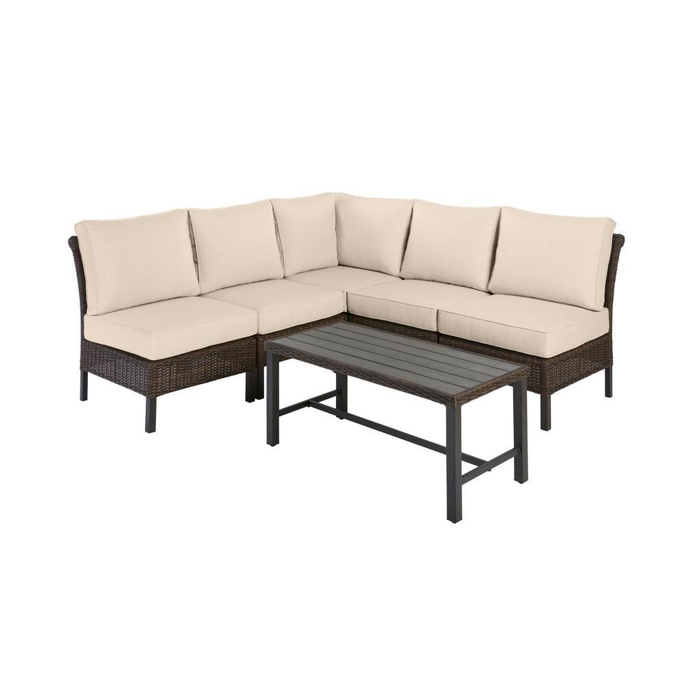 Harper Creek Brown 6-Piece Steel Outdoor Patio Sectional Sofa Seating Set with Sunbrella Beige Tan Cushions