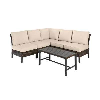 Harper Creek 6-Piece Brown Steel Outdoor Patio Sectional Sofa Seating Set with Sunbrella Beige Tan Cushions